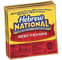 Hebrew National Beef Franks – 3/12 oz. packs